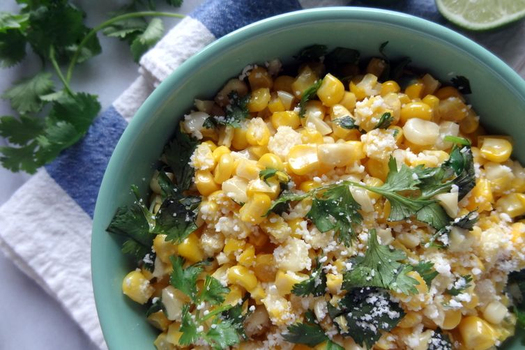 Author Notes: Fresh corn mixed with cotija cheese, cilantro, lime, and ...