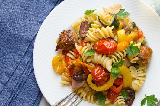 roasted italian sausage, veg and pasta