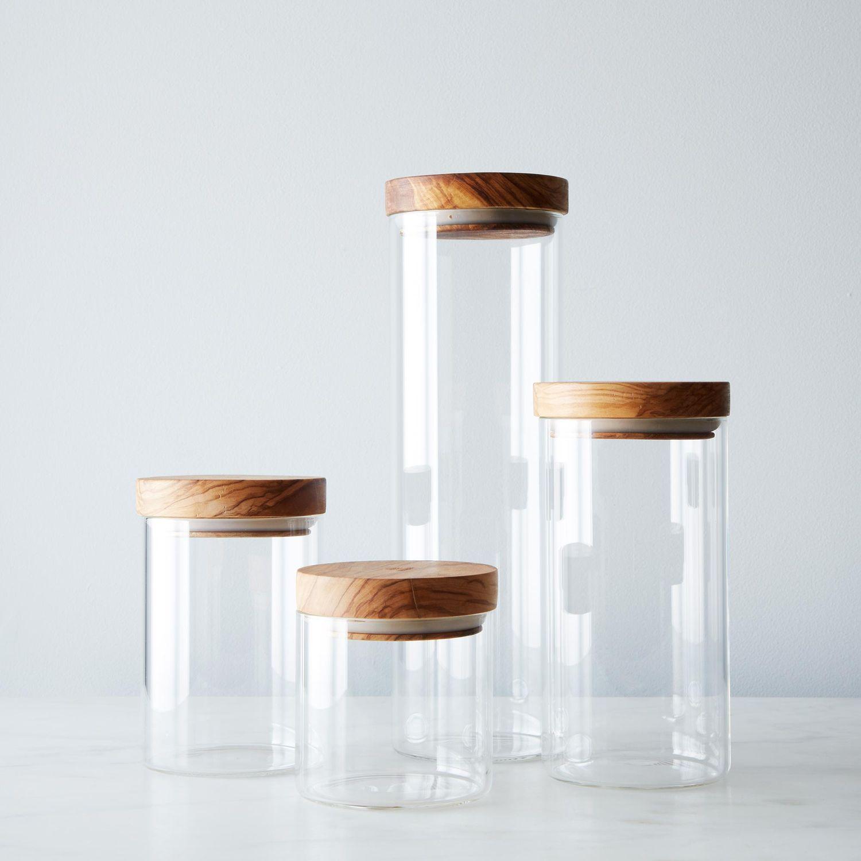 glass jars with wood lids set of 4 on food52. Black Bedroom Furniture Sets. Home Design Ideas