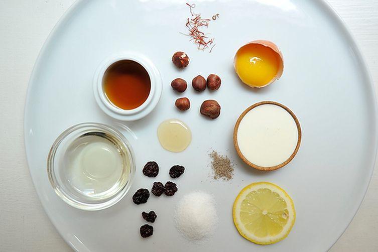 Saffron Semifreddo with Cherry-Cardamom Syrup and Salted Honey-Hazelnuts