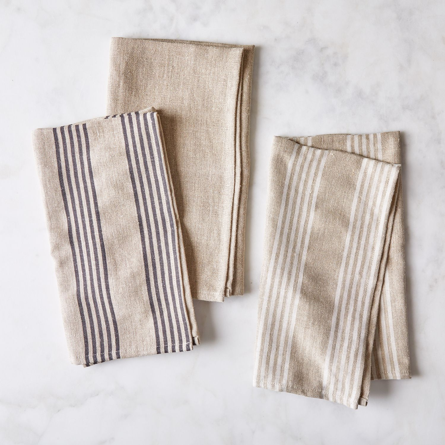 French Oatmeal Linen Classic Stripe Tea Towels Set Of 2 On Food52