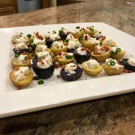 Roasted Baby Potatoes with Bacon-Chive Topping