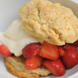 Strawberries with Lavender Biscuits