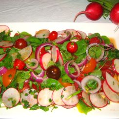 Refreshing Radish, Watercress, Tomato Salad with Lime-Soy-Ginger Dressing