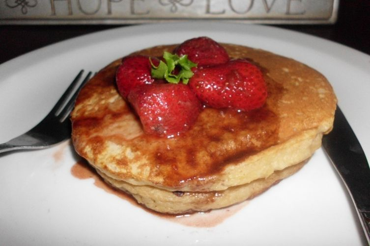 Apple Pancake with Balsamic Strawberry Sauce