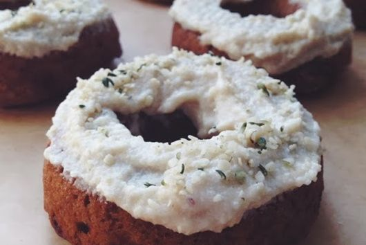 Vegan Baked Banana-Bourbon Donuts with Cashew Cream Cheese Frosting.