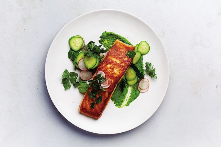 Salmon with the Greenest Tahini Sauce