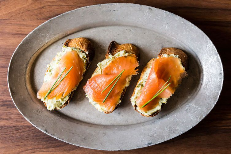 Smoked salmon toasts from Food52