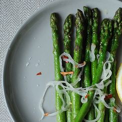 Risi e Bisi (Italian Rice and Peas) + Asparagus with Shallots and Chiles