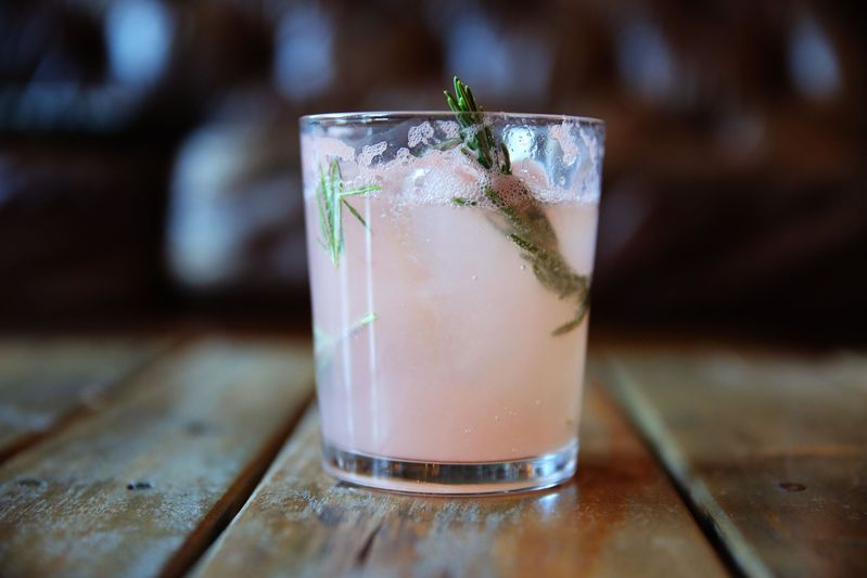 Don't forget the rosemary swizzle stick for the grapefruit gin and tonic.