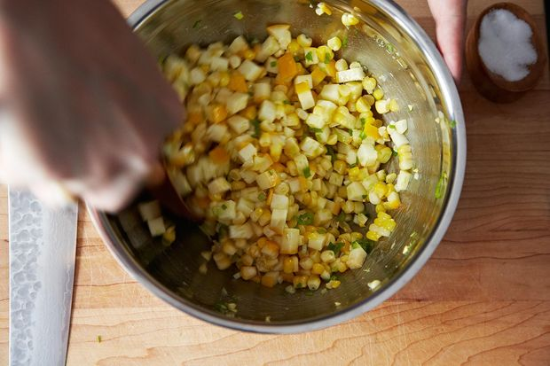 Tomato Salad with Corn, Summer Squash and Roasted Onions