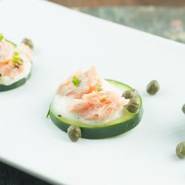 Smoked Salmon Cucumber Bites with Lemon Coconut Cream