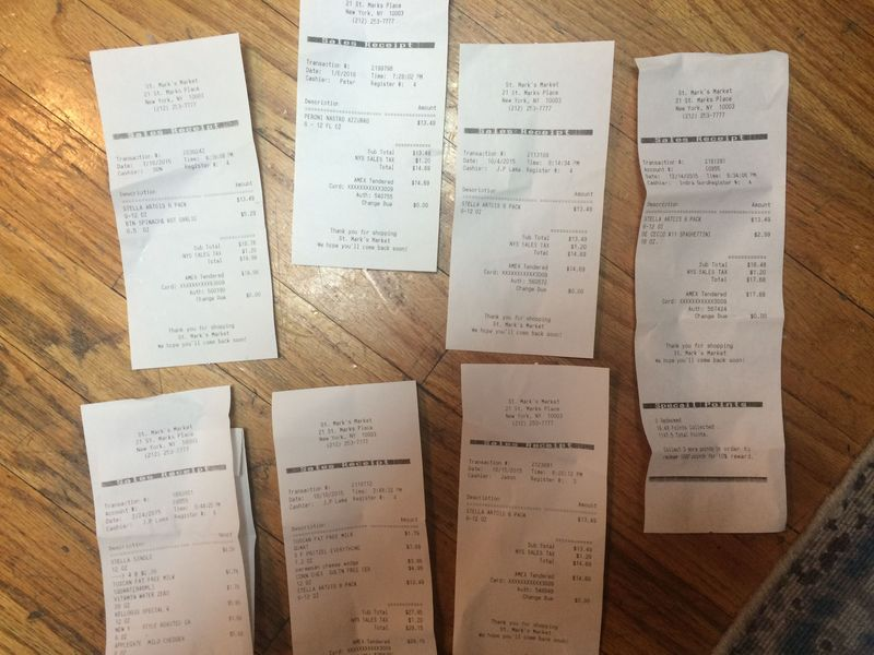 7 receipts, all for beer.
