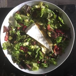 Red leaf salad with warm cherry bacon vinegarette by Karen