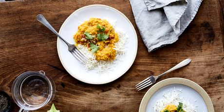 Plus a sunny bowl of red lentils that tastes like winter in Calcutta
