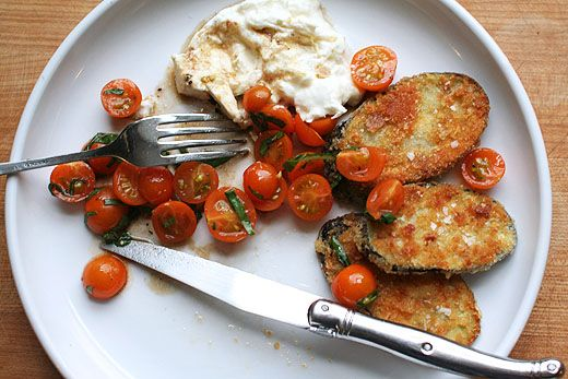 Fried Eggplant with Tomatoes