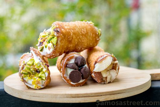 SHRIKHAND CANNOLI -HOMEMADE CANNOLI FILLED WITH SHRIKHAND AND RICOTTA CHEESE