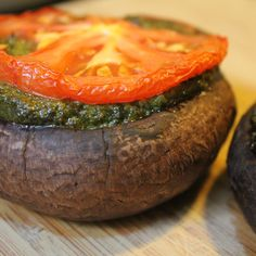 Paleo and Vegan Pesto stuffed mushrooms