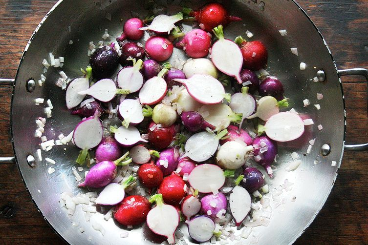 Pan-Braised Radishes and Greens