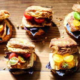 """Heirloom Tomato & Haloumi """"Caprese,"""" Biscuit Style"""