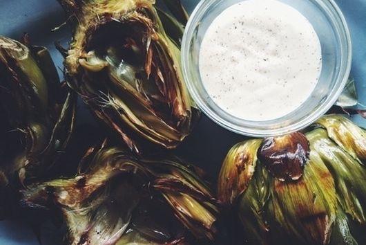Grilled Artichokes with Garlic Lemon Aioli