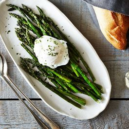 Roasted Asparagus with Poached Egg and Lemon-Mustard Sauce