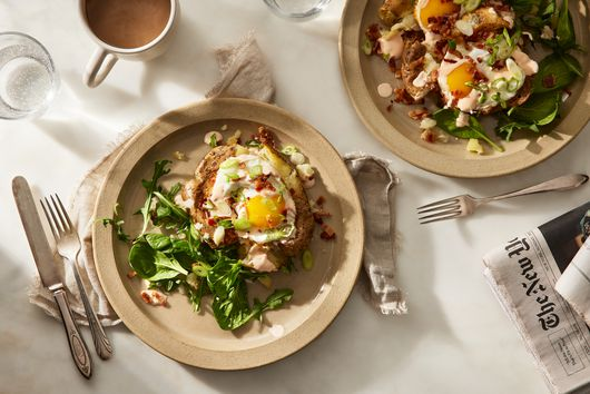 Smashed Potatoes With Bacon & Eggs
