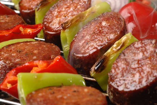 Jamaican Jerk Chicken Sausage Kebabs