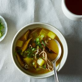 Turmeric-Miso Soup with Shiitakes, Turnips, and Soba Noodles