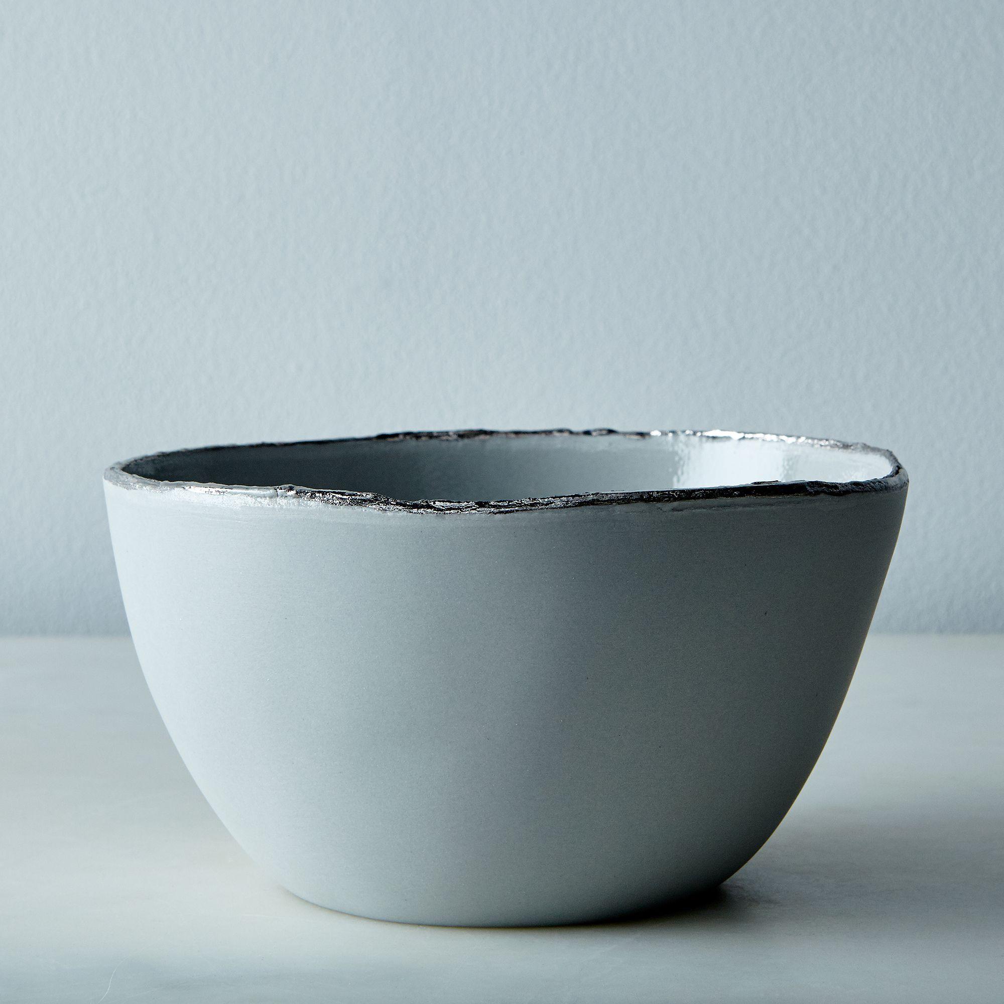 Porcelain Gold-rimmed Dinnerware Cereal Bowl, Grey