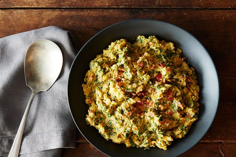 Spicy and Sweet Potato Colcannon with Pancetta