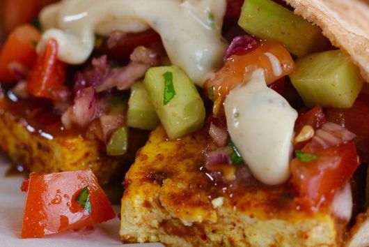 Spicy Masala Rubbed Tofu Pitas with Mint Cumin Yoghurt Sauce