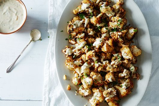 Spice-Roasted Cauliflower with Pine Nuts & Tahini Drizzle