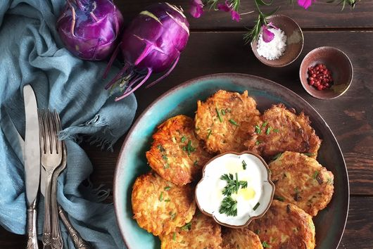 Kohlrabi Fritters with Meadow Parsley