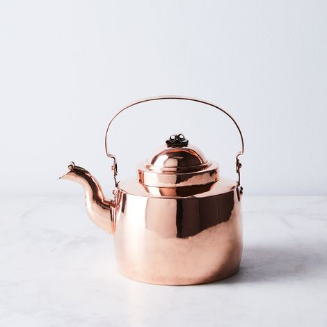 Vintage Copper Georgian Tea Kettle with Inscribed Handle, Mid 19th Century