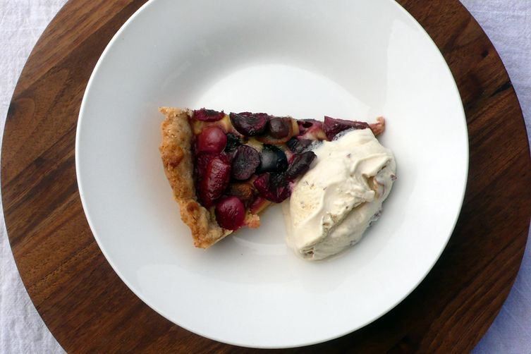 Rustic Cherry Tart with Almond Ice Cream