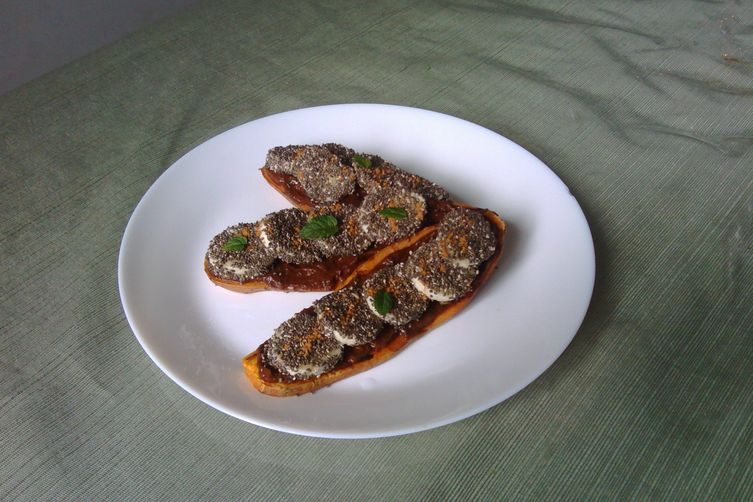 Sweet potato toasts with warm chocolate pumpkin mousse and banana chia