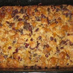 Chocolate, Orange, Cranberry and Almond Croissant Bread Pudding