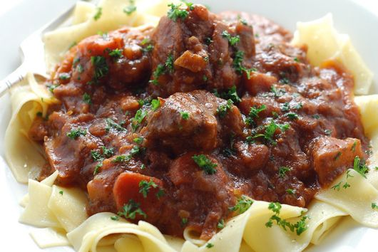 Goat Ragout with Figs & Rosemary Over Pappardelle