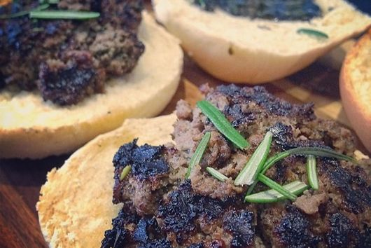 Lamb & Mint With Rosemary Burgers W/ Black Truffle,Mint & Balsamic Glaze Sauce