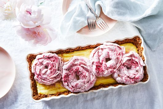 Vanilla Cream Pie With Pretzel Crust and Raspberry Whipped Cream Peonies