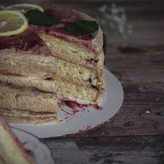 Lemon coconut cream cake with graham cracker frosting