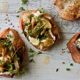Yellow Oyster Mushrooms on a Brie Toast