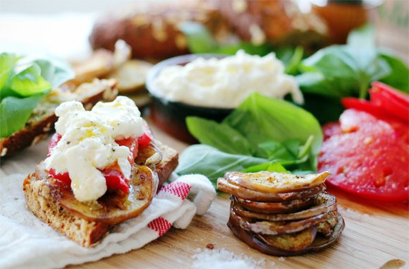 Eggplant, Tomato and Burrata Sandwiches