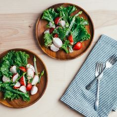 Green Leaf Lettuce with Radishes and Spring Onions