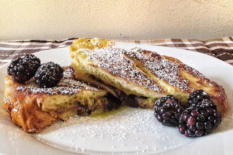 Pistachio Mascarpone and Blackberry Jam Stuffed French Toast
