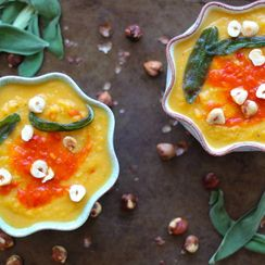 Winter Squash & Chickpea Soup with Sage, Harissa, and Hazelnuts