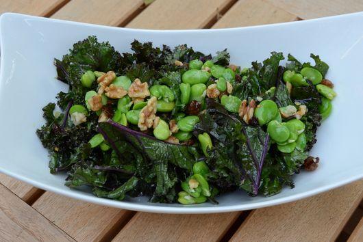 Kale, Fava, Sultana and Walnut Salad