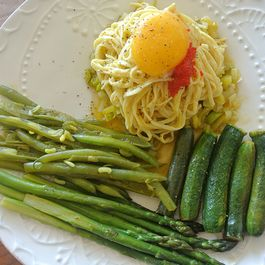 egg yolk with egg tagliolini & spring vegetables