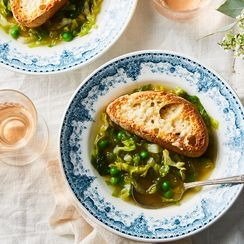 Nigel Slater's Minty Pea Soup with Parmesan Toasts